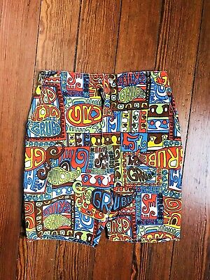 1960's Vintage Robert Bruce Psychedelic Print Shorts Swim Trunks cotton