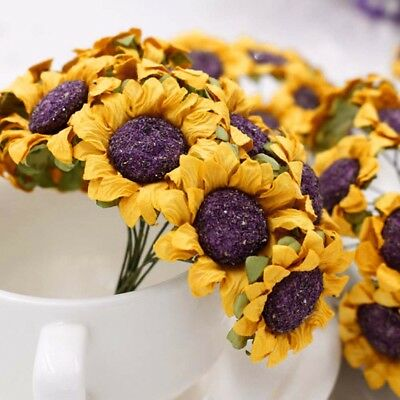 50 pcs 5 bundle sunflower mini paper flower scrapbook wrapping decor craft card