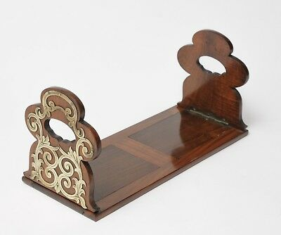 Victorian Antique Walnut Wooden Book Slide with Classical Brass Mounts