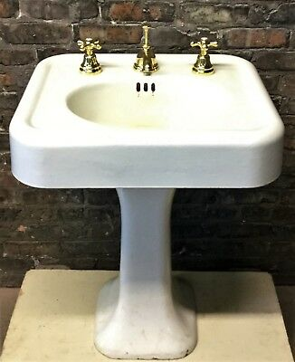Antique Vintage c1927 Standard White Porcelain Over Cast Iron Pedestal Sink