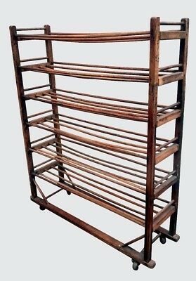 19Th Century American Oak Industrial Shoe Rack With Six Tiers-Great For Wines