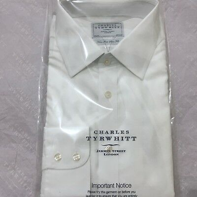 "Mens White Shirt CHARLES TYRWHITT 17"" 43cm NON IRON Button Cuff Slim Fit 37"" Slv"