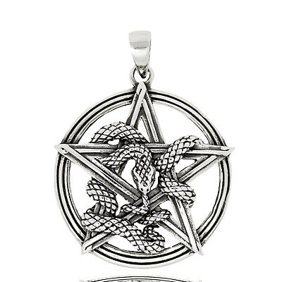 925 solid Sterling Silver Pentagram Pentacle with Snake Ouroboros pendant