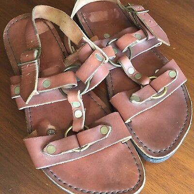 Rare Vintage 60/70s Sandals Hippie Tire Tread Leather Brass Size 10 Boho Hippy