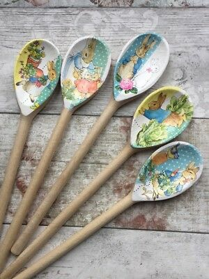 Limited Edition Decorative Decoupage Wooden Spoons using Peter Rabbit II designs