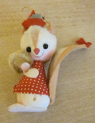 Chipmunk Christmas Ornament with Red Hat