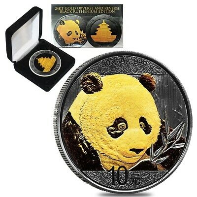 2018 30 gram Chinese Silver Panda 10 Yuan Black Ruthenium 24K Gold Edition