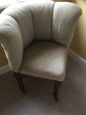 Lovely Antique Upholstered Corner Chair On Casters