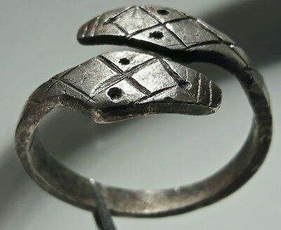 CELTIC Silver SNAKE RING ** TWO HEAD SNAKE ** GREAT LARGE MANS RING