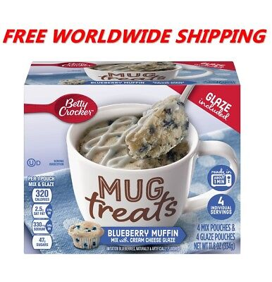 Betty Crocker Blueberry Muffin Mix Mug Treats with Glaze WORLDWIDE SHIPPING