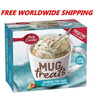 Betty Crocker Rainbow Chip Cake Mix Mug Treats with Frosting WORLD SHIPPING