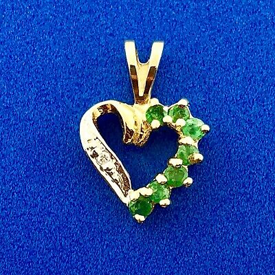 Vintage 14K Yellow White Gold Emerald Diamond Heart Sweetheart Birthday Pendant