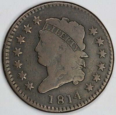 1814 1c Classic Head S-295 Large Cent UNSLABBED