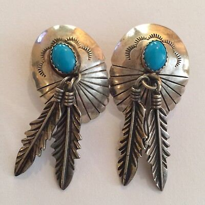VINTAGE Signed STC Native American STERLING SILVER Turquoise FEATHER Earrings