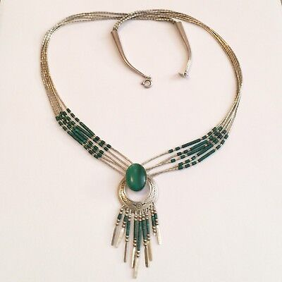 Vintage STC Signed NATIVE AMERICAN Liquid STERLING SILVER Malachite NECKLACE