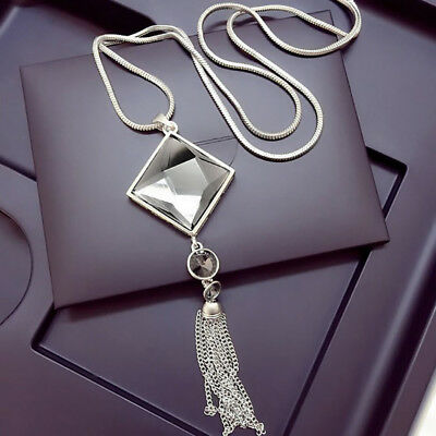 Pendant Necklace Square Big Drop Crystal Long Chain Sweater Tassel Hot sale