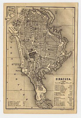 1911 Original Antique City Map Of Siracuse / Siracusa / Sicily / Italy