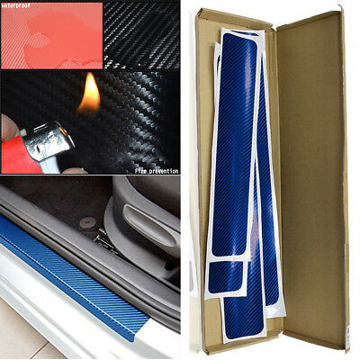4Pcs 3D Carbon Fiber Blue Car Door Sill Scuff Plate Cover Anti Scratch Sticker