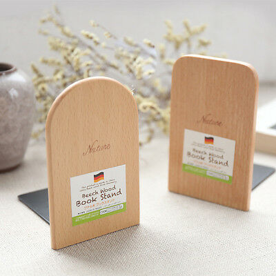 1pc Wood Japanese Style Nature Beech Wood Book Stand Bookend Book End Shelf