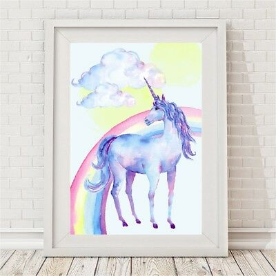 NEW Watercolour Unicorn Rainbow Print Girl's by BespokeMoments