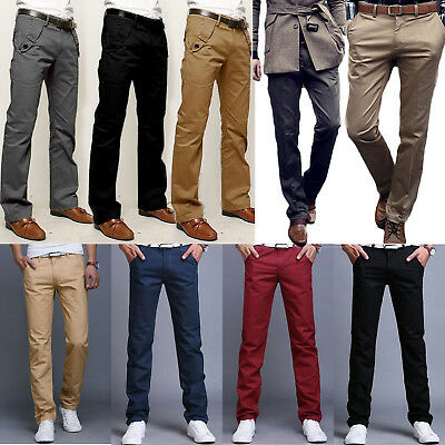 Mens Chino Trousers Stretch Skinny Straight Fit Jeans Cotton Pants Casual Formal