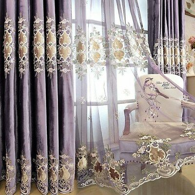FLANNEL EUROPEAN LUXURY Blackout Curtains for Bedroom Purple Sheer Tulle 1  Piece