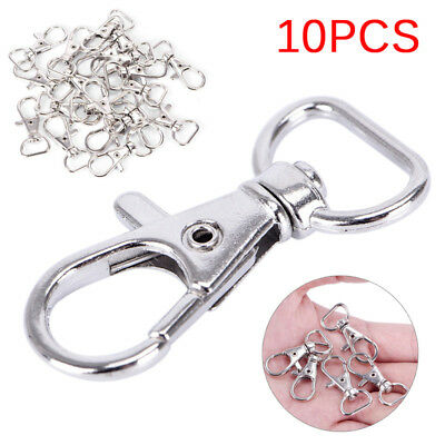 10PCS Lobster Swivel Clasps Clips Bag Key Ring Hook Jewelry Findings Key chain~~