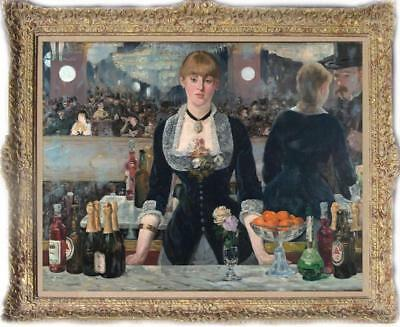 Hand painted Old Master-Renoir Art Oil painting Portrait bar girl on Canvas
