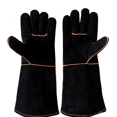 Premium Welders Welding Gloves Gauntlets - Reinforced Lined Gloves Stoves Fire