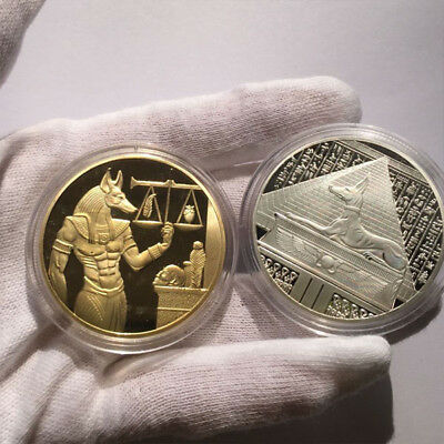 2x God of Death Egyptian Mummification Anubis Gold&Silve r Coin Collectible US
