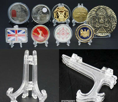 10pcs Clear Mini Plastic Display Easel Coin Bullion Medal Stands Holder UK
