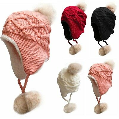 Baby Toddler Winter Beanie Warm Hat Faux Fur Earflap Knitted Cap Mom &Kids TP