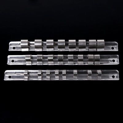 "Socket Rack Holder 1/2"" 1/4"" 3/8"" with 8 Clips On Rail Tool Organizer Storage"