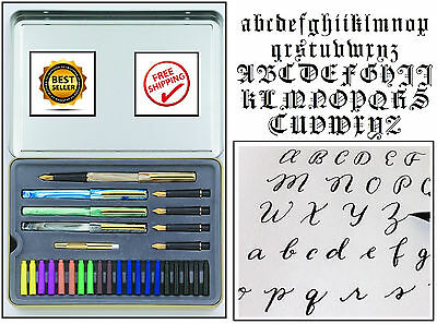 NEW Calligraphy Letters Pen Set Ink Cartridge Practice Paint Draw Kit Best Gift