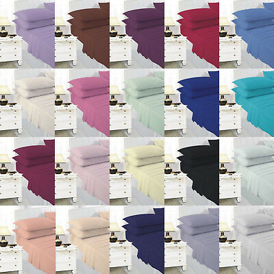 4Ft (122 x 200 cm) Small Double Fitted Bed Sheet Poly cotton Dyed Or Pillowcase