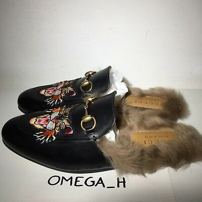 88d48f58e13 GUCCI 1050  NEW Black Leather Princetown Slipper With Angry Cat ...