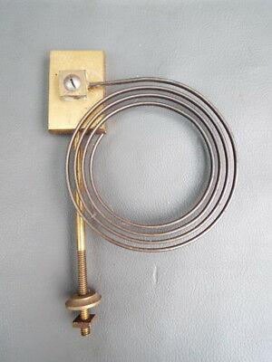 Vintage brass clock chime gong with metal coil and fixing bolt spares parts