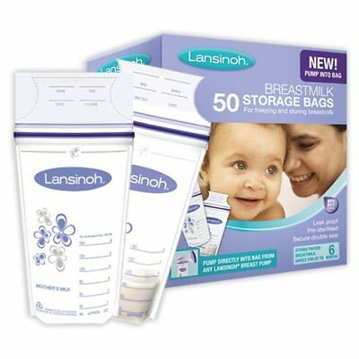 Lansinoh Breast Milk Baby Storage Bags Pack Of 50 Food Safe Sterilized Zipper