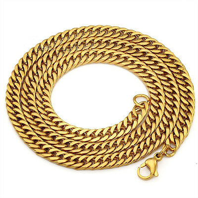 """Wholesale 6m Mens Boys316L Stainless Steel 18KGold Curb Cuban Chain Necklace 24"""""""