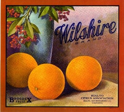 Rialto Big R #1 Orange Citrus Fruit Crate Label Art Print