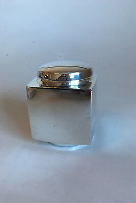 Hans Hansen Sterling Silver Square Tea Box with Round Lid by Karl Gustav Hansen