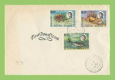 B.I.O.T. 1970 30c,60c & 85c Marine Life definitives on First Day Cover