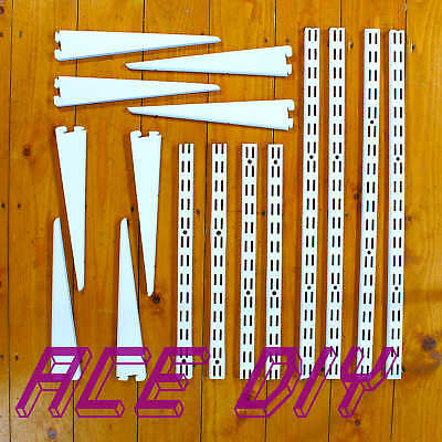 Twin Slot Shelving Uprights & Brackets White Strong Secure Adjustable Rack Shelf
