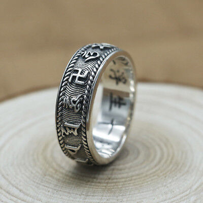 aab27dcd54d3a BUDDHIST RING TIBETAN Mantra 925 Sterling Silver Om Mani Padme Hum ...