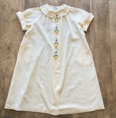 Girls Vtg PETTI-ROBE by Loungees Yellow/White Stripe Tulip S/S Bathrobe Cover-up
