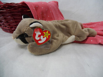 TY Beanie Babies Canyon the Cougar Plush 1998 Grey Beige Cat Puma Mountain Lion