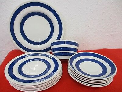 14 Pieces Crockery - Irish Cottage Ware Arklow - Blue/White