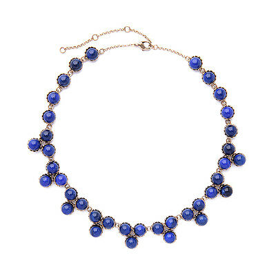 Necklace Short Golden Chain Pearl Navy Blue Class Retro JCR10