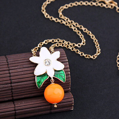 Necklace Short Golden Chain Pearl Orange Flower Sheet Enamel White Green Class