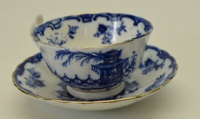 Allertons England Temple Pattern Tea Cup and Saucer  ca. 1925  Blue Japnese